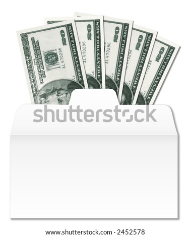 Clean, sharp image of money, $100, in a drive-thru bank cash envelope. - stock photo