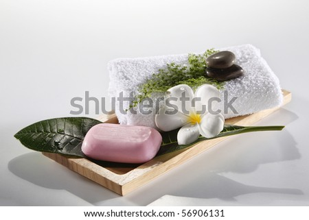 clean shot of the bath room product - stock photo