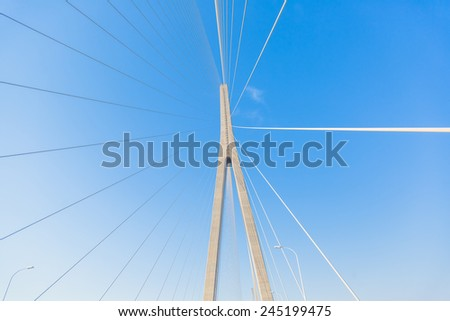 clean sky with modern bridge of china. - stock photo