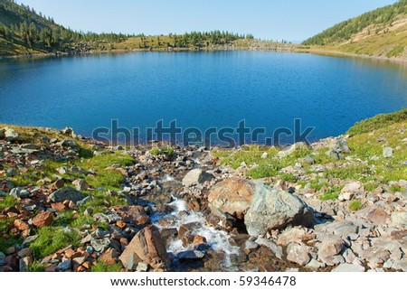 clean stream and lake in mountain, altai