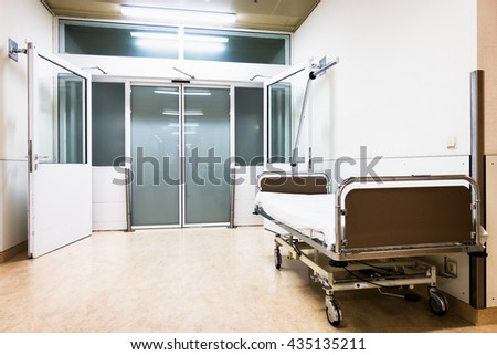 clean stretcher at a hospital - stock photo