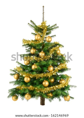 Clean studio shot of a Christmas tree decorated with gold baubles and garland, isolated on white - stock photo