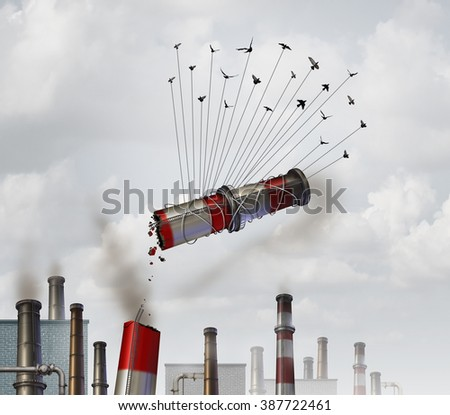 Clean the environment and emmission control environmental concept as a group of birds lifting up an industrial smoke stack with dirty soot smoke as a global climate change symbol of cleaning the air. - stock photo