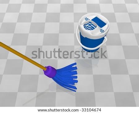 clean the floor - stock photo