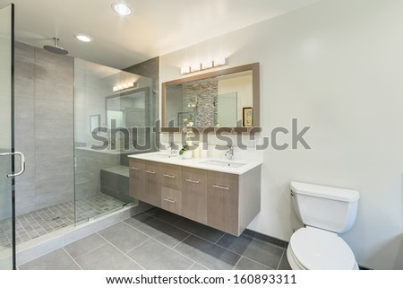 Clean toilet in a luxury house. - stock photo