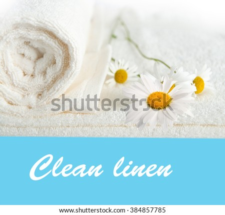 Clean towels and daisy flower. isolated