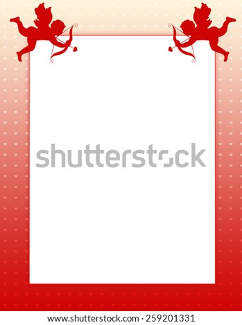 Clean Valentine's Day / Holiday /Love border.. with red hearts.. and cupids with arrow for greeting card backgrounds or wedding invitation backgrounds - stock photo