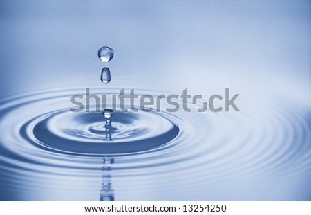 Clean water and water bubbles in blue - stock photo
