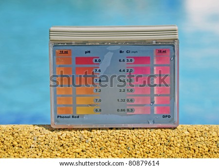 Clean water in the pool. Ph and chlorine analyzer - stock photo