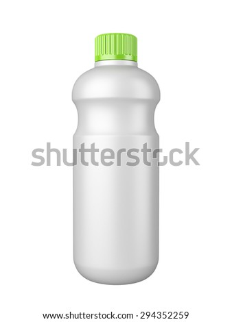 clean white plastic bottl with detergent. 3d image isolated on a white background.