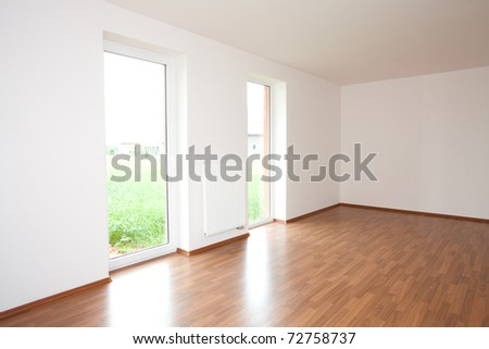 clean white room  interior of a country cottage - stock photo