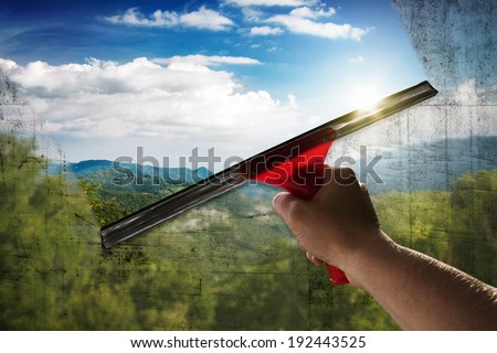 Clean Window - stock photo