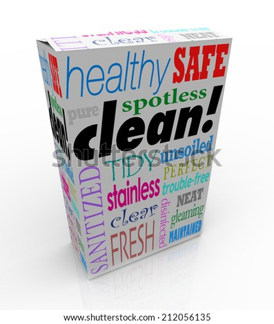 Clean word on product box or package advertising benefits like healthy, safe, spotlight, pure, tidy, sanitized, fresh, clear, disinfected, stainless and perfect