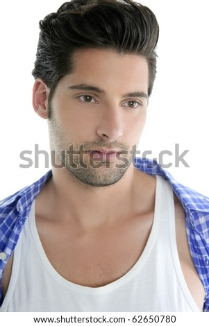 Clean young handsome man closeup portrait blue shirt white background - stock photo