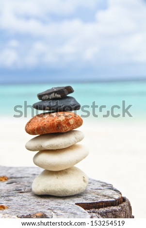 Cleaned stone and  blue sea - stock photo