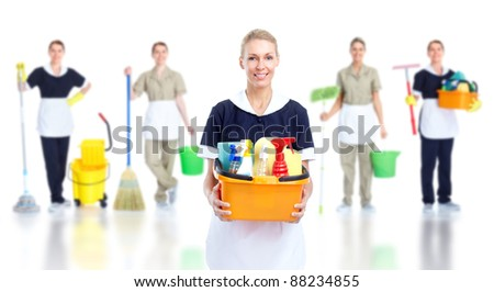 Cleaner maid woman group. Isolated on white background.. - stock photo