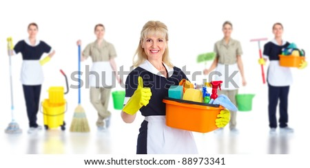 Cleaner maid woman. Isolated on white background.. - stock photo