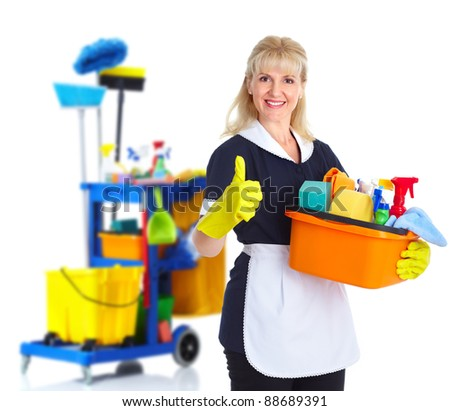 Cleaner maid woman with janitor cart. Isolated on white background.. - stock photo