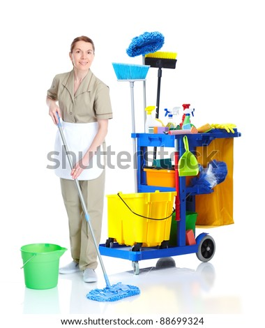 Cleaner maid woman with janitor cart washing floor. Isolated on white background.. - stock photo