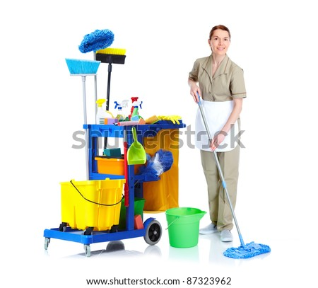 Cleaner maid woman with mop and janitor cart. Isolated on white background.. - stock photo