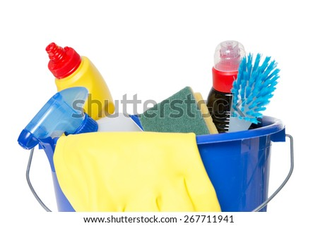 Cleaner with brush in a bucket / House cleaning - stock photo