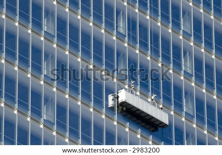 Cleaning a building in New York City - stock photo
