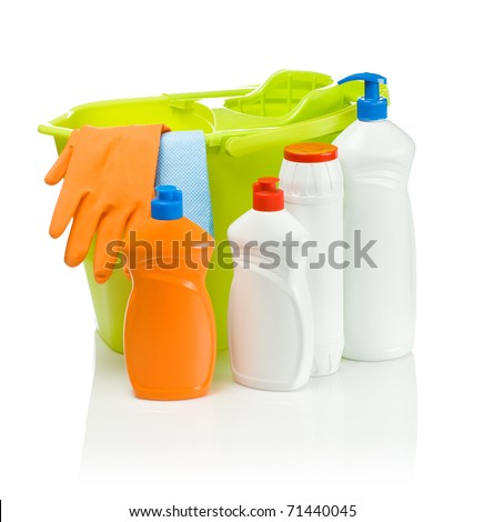 cleaning accessories with green bucket