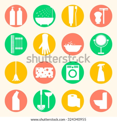 Cleaning and hygiene products flat icons. Cleaner and toilet paper, toothpaste and mirror, sponge and washing machine and mop. - stock photo