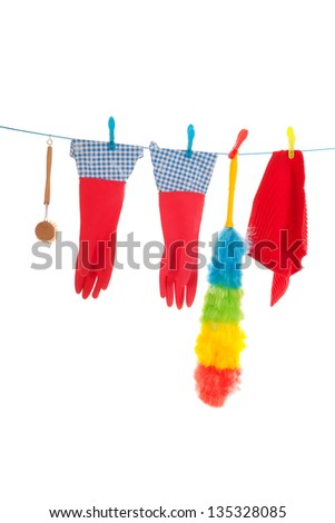 cleaning attributes hanging at laundry line - stock photo