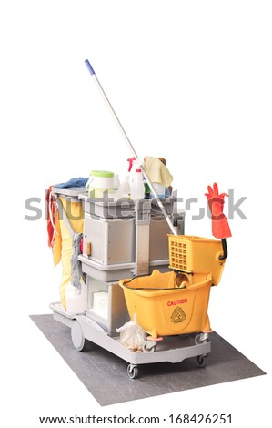 Cleaning bathroom kit white isolate  - stock photo