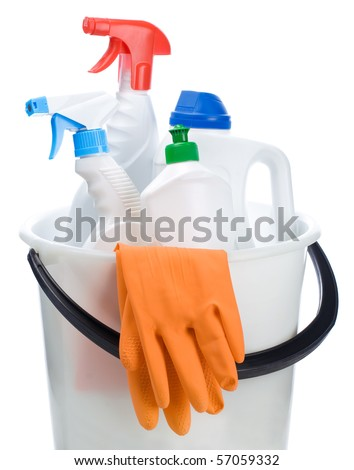 cleaning bottles in white bucket - stock photo