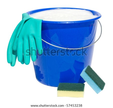 Cleaning bucket with sponges and gloves isolated on white background - stock photo