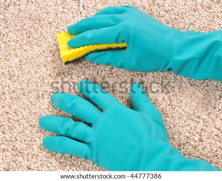 Cleaning carpet with sponge and gloves - stock photo
