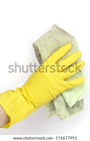 Cleaning - Cleaning surface in bright yellow gloves with cloth on white background - stock photo