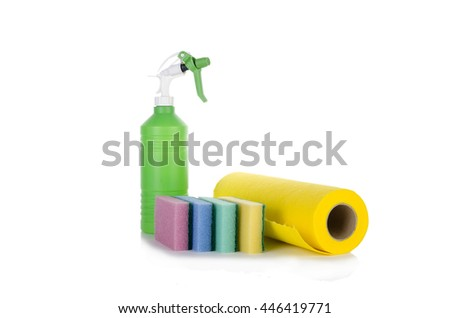 Cleaning cloth sponges and sprayer isolated on white