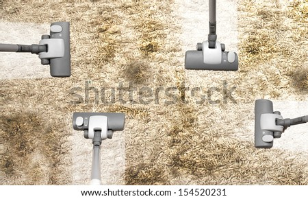 cleaning company service - vacuuming very dirty carpet - stock photo