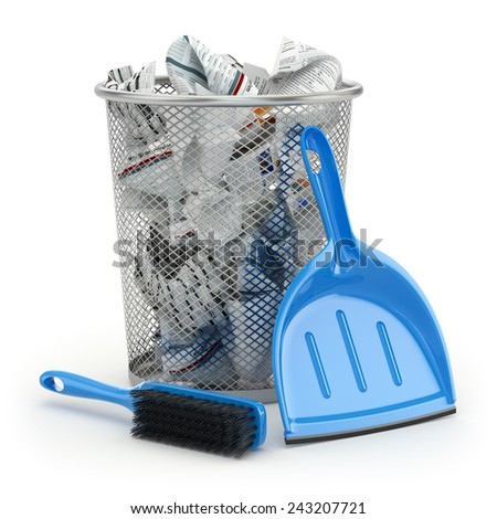 Cleaning concept.Garbage bin, dustpan or scoop and brush. 3d - stock photo