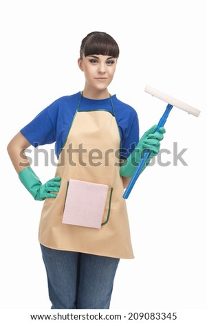 Cleaning Concept: Happy Caucasian Female Holding Rubber Swab and Smiling.  - stock photo