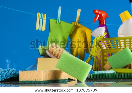 Cleaning concept on saturated blue background