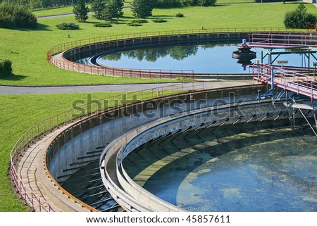Cleaning construction pool for a sewage treatment - stock photo