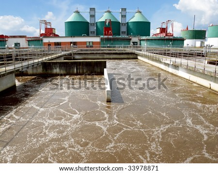 Cleaning construction pool for sewage treatment - stock photo