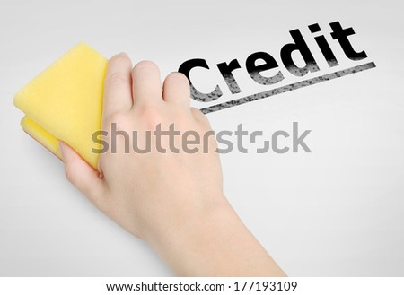 Cleaning credit word on background - stock photo