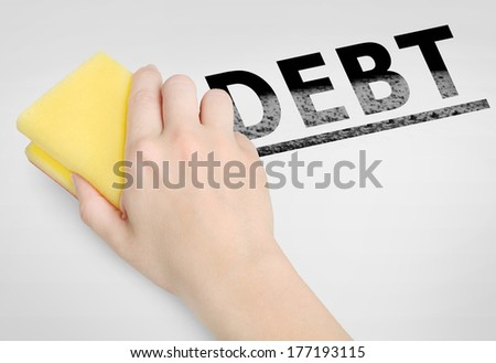Cleaning debt word on background - stock photo