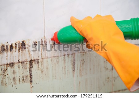 Cleaning dirty old tiles in a bathroom - stock photo