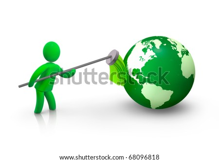 Cleaning earth - stock photo