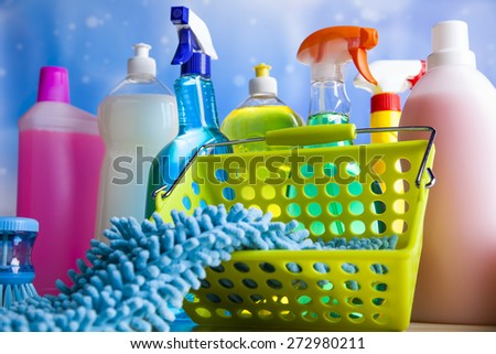 Cleaning Equipment, home work colorful theme - stock photo