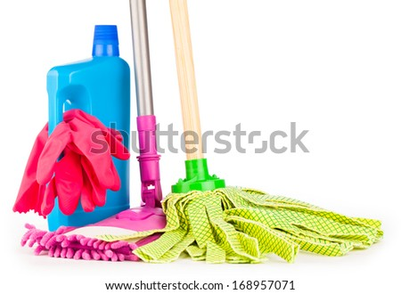 cleaning equipment isolated on white  - stock photo