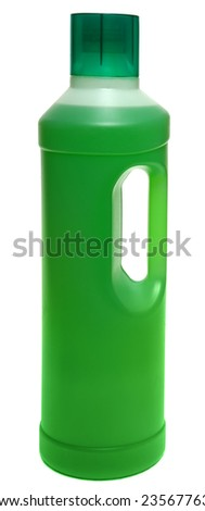 cleaning equipment isolated on white background. colored plastic bottles with Detergent isolated on white background . Studio shooting.  - stock photo