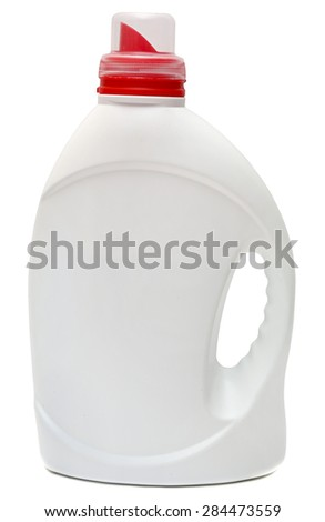 cleaning equipment isolated on white background. colored plastic bottles with Detergent isolated on white background . Studio shooting.
