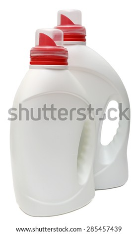 cleaning equipment isolated on white background. colored plastic bottles with Detergent . Studio shooting.  - stock photo